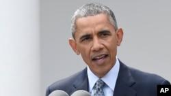 奥巴马4月2日在白宫玫瑰园谈伊核谈判取得突破。
