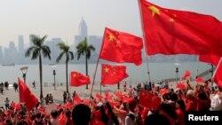 支持北京政府的示威者在香港舉行集會。 (2019年9月29日)