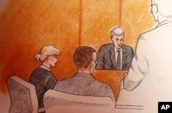 طرحی از صحنه دادگاه تیلور سوئیفت در دن ور sketch by Jeff Kandyba