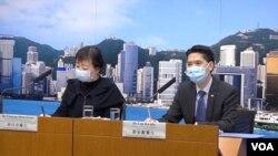 醫管局總行政經理劉家獻(右)表示當局會研究在香港測試瑞德西韋的可能。 (王四維)