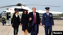 美國總統特朗普11月9日在安德魯斯聯合基地搭乘空軍一號前往阿拉巴馬州視察前對記者發表講話。