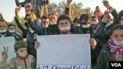 Aksi demonstrasi menentang Presiden Bashar al-Assad terus berlanjut di seantero Suriah, termasuk di Kafranbel (4/12).