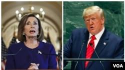 Perezida w'Amerika Donald Trump n'umukuru w'inama nshingamateka, Nancy Pelosi