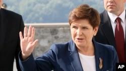FILE - Poland's Prime Minister Beata Szydlo arrives for an EU summit at Bratislava Castle in Bratislava, Slovakia, Sept. 16, 2016.