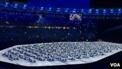 현지시간으로 5일 브라질 리우 데 자네이루 마라카낭 경기장에서 올림픽 개막식이 열리고 있다.