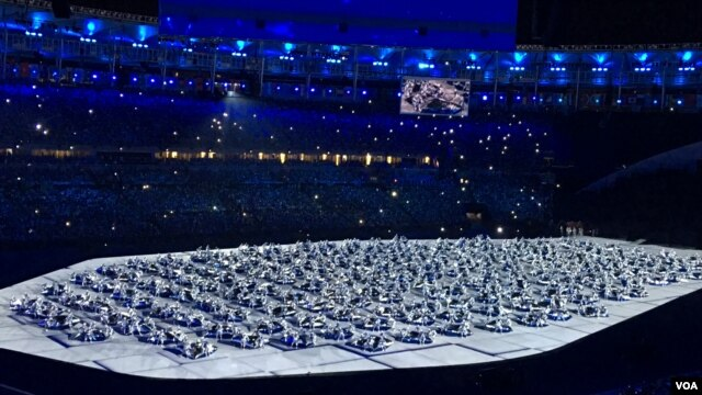 Dancers are seen during a performance at the opening ceremonies of the 2016 Rio Olympic Games, Aug. 5, 2016, in Rio de Janeiro, Brazil. (P. Brewer/VOA)