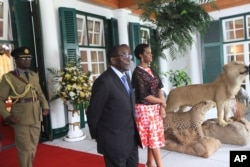 Zimbabwe President Mugabe and First Lady Grace Mugabe at Stat House.