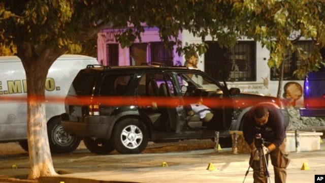 A member of a forensic team works at a crime scene where five men were gunned down in Ciudad Juarez July 12, 2011