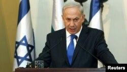 11일 이스라엘 예루살렘에서 보이코 보리소프 불가리아 총리와 공동 기자회견 중인 베냐민 네타냐후 이스라엘 총리.