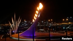 The Olympic Cauldron is seen in the Olympic Park at the end of the opening ceremony of the 2014 Sochi Winter Olympics, February 7, 2014.