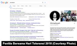 Hubungan JAI dan media telah membuat hasil pencarian kata kunci 'Ahmadiyah' di Google lebih berimbang dan akurat. (Foto: Panitia Bersama Hari Toleransi 2018)