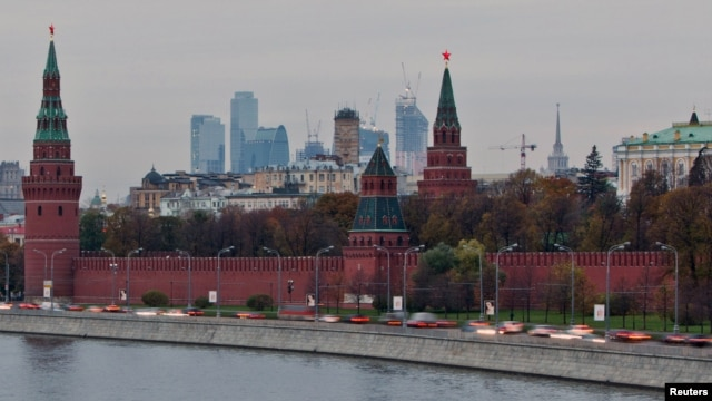 A view of the Kremlin, Ministry of Foreign affairs and Moscow City, Russia business district, Oct. 18, 2011.