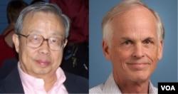 天体物理学家方励之(左)和美国学者林培瑞(右)