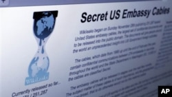 Wikileaks web site releasing U.S. diplomatic cables