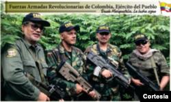 Iván Márquez, El Paisa, aldinever Morantes y Jesús Santrich, comandantes de la disidencia de la Farc denominada Nueva Marquetalia.