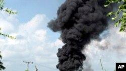 Myanmar-Oil Explosion