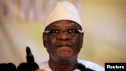 Mali's President-elect Ibrahim Boubacar Keita speaks at a news conference in Bamako, Aug. 21, 2013.