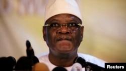 Mali's President-elect Ibrahim Boubacar Keita speaks at a news conference in Bamako, Aug. 21, 2013.