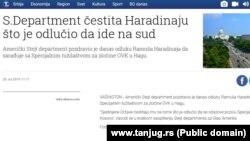Vest državne novinske agencije Tanjug o reakciji Stejt departmenta