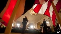 Tổng thống Hoa Kỳ Barack Obama và Thủ tướng Anh David Cameron mở cuộc họp báo chung tại Tòa Bạch Ốc, 16/1/15