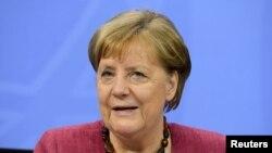 Kanselir Jerman Angela Merkel di Berlin, Jerman, 27 Mei 2021. (REUTERS/Annegret Hilse/Pool)