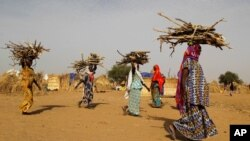FILE - Women carry fire woods at the Boudouri site for displaced persons outside the town of Diffa in southeastern Niger, June 21, 2016.