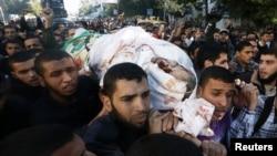 巴勒斯坦人11月15日在加沙为被以色列炸死的哈马斯指挥官举行葬礼