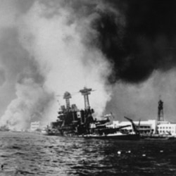 The USS California after being struck by a torpedo and a bomb during the Japanese attack on Pearl Harbor