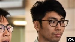 學聯前常委鍾耀華。香港佔中9人案審結,明年4月9日裁決。(美國之音湯惠芸)