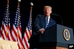FILE - President Donald Trump speaks during the National Prayer Breakfast, Feb. 8, 2018, in Washington.