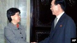 지난 2010년 4월 평양에서 김영남 북한 최고인민회의 상임위원장과 만난 마거릿 찬 WHO 사무총장.