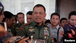 FILE - Indonesian military Chief Gatot Nurmantyo talks to reporters in Jakarta, Indonesia, January 5, 2017.