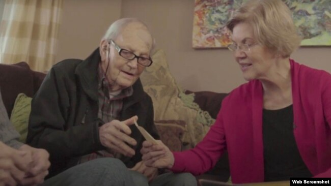 Ông Donald Reed Herring và bà Elizabeth Warren. Photo Elizabeth Warren via YouTube.