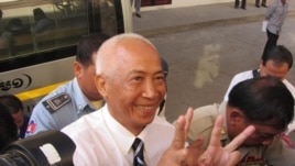 Mam Sonando told VOA Khmer outside the court that he was happy to see two charges dropped and that he expects to be released eventually. Photo by Heng Reaksmey, VOA Khmer.