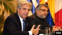 El presidente de Uruguay, Tabaré Vázquez, y el presidente paraguayo, Fernando Lugo, pidieron terminar con las dificultades arancelarias.