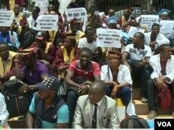 Participants in teachers strike in Yaounde, Cameroon, March 27, 2017. (Photo: Moki Edwin Kindzeka for VOA)