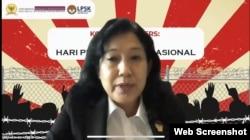 Wakil Ketua LPSK, Livia Iskandar, dalam konferensi pers peringatan Hari Pembela HAM Nasional, Selasa 7 September 2021. (Anugrah Andriansyah).