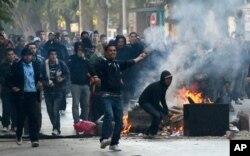 Des manifestants tunisiens dans la rue
