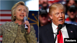 U.S. presidential candidates Hillary Clinton (L) and Donald Trump are seen speaking at campaign rallies. Polls show both locked in a virtual dead heat, with a majority of voters viewing both of them unfavorably.