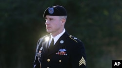 FILE - Army Sgt. Bowe Bergdahl arrives for a pretrial hearing at Fort Bragg, North Carolina, Jan. 12, 2016.