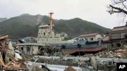 日本大渡船市﹐原來在港灣裡的拖船﹐如今還留在距離港灣一公里遠的內陸居民住家 的後院