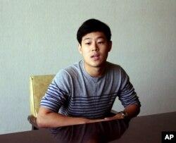 FILE - Joo Won-moon, a South Korean student at New York University, is interviewed at the Koryo Hotel in Pyongyang, North Korea Tuesday, July 14, 2015
