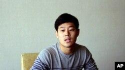 Sinh viên Hàn Quốc Joo Won-moon tại Đại học New York trong cuộc phỏng vấn tại khách sạn Koryo ở Bình Nhưỡng, Bắc Triều Tiên hồi tháng 7, 2015.