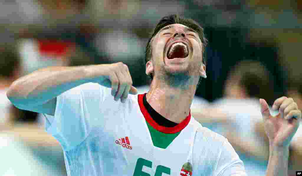 Hungary's Mate Lekai reacts after his team defeated Iceland during their men's handball quarterfinal match.
