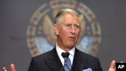 Britain's Prince Charles delivers the keynote address on sustainable agriculture, at Gaston Hall at Georgetown University in Washington, May 4, 2011