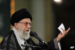 FILE - In this picture released by the official website of the office of the Iranian supreme leader, Supreme Leader Ayatollah Ali Khamenei delivers a speech during a meeting in Tehran, Aug. 17, 2015.