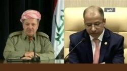 دیدار رئیس پارلمان عراق با مسعود بارزانی در پی کشمکش استقلال طلبی اقلیم کردستان
