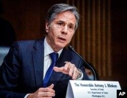 Menlu AS Antony Blinken memberikan kesaksian di depan Komisi LN Senat AS (14/9).