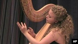 Lena-Maria Buchberger, 25, came from Germany to compete in the USA International Harp Competition, a 10-day event.