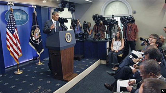 President Barack Obama answers questions about the ongoing budget negotiations during a press conference in the Brady Briefing Room of the White House, in Washington, DC, July 15, 2011